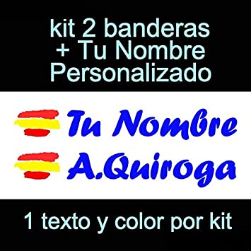 Casco Pala De Padel Moto Monopatin tu Nombre Coche Vinilin Pegatina Vinilo Bandera Espa/ña Kit de Dos Vinilos Bici etc