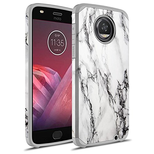 Moto Z2 Play Case, Moto Z Play (2nd Gen.) Case, Rosebono Hybrid Dual Layer Shockproof Hard Cover Graphic Fashion Cute Colorful Silicone Skin Case for Moto Z2 Play (White Marble)