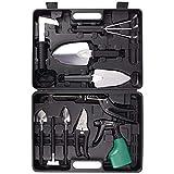 BYUEE Gardening Tool Set, 12 Pieces Garden Tool Set Garden Kit Gifts for Women Gardener with Carrying Case (Black)