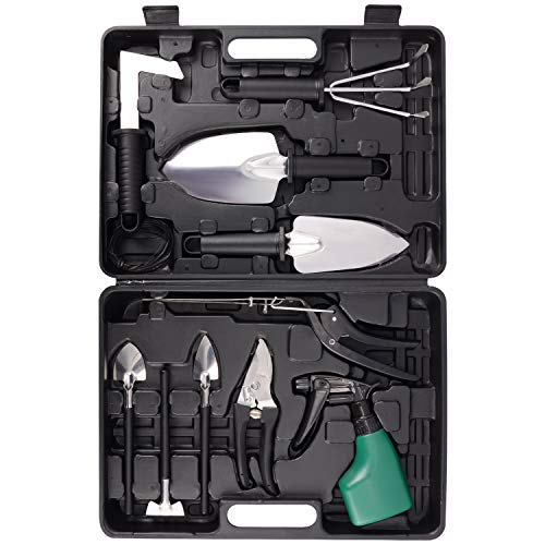 Gardening Tool Set, 12 Pieces Garden Tool Set Garden Kit for Women Gardener with Carrying Case