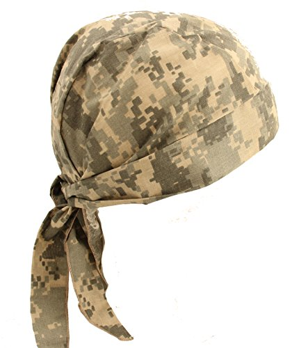 Hiphopville Adjustable Skull Cap Hat Army ACU Digital Camo Tan Green Bandana with Tie