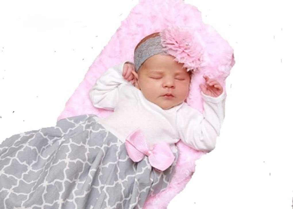 Theposhlayette Infant Newborn Baby Girl Coming Home Outfit Layette Gown with Headband Pink Gray