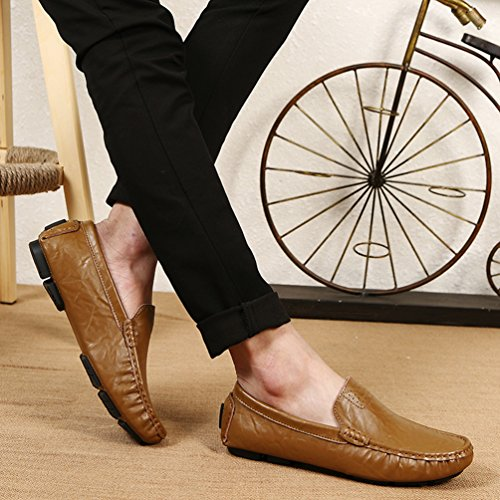 Loafers Go Mens On Driving The Leather Boat Fashion Khaki SUNROLAN shoes Genuine Classy Casual vcnWnd0
