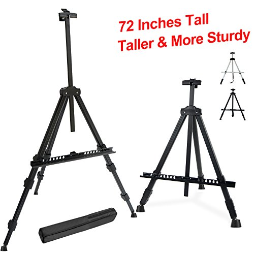 "T-Sign 72'' Tall Display Easel Stand, Aluminum Metal Tripod Art Easel Adjustable Height from 22-72"", Extra Sturdy for Table-Top/Floor Painting, Drawing and Display with Bag, Black by T-Sign"