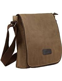 Men's Retro Canvas Crossbody Shoulder Messenger Bag For iPad-Mini Brief Business Bag
