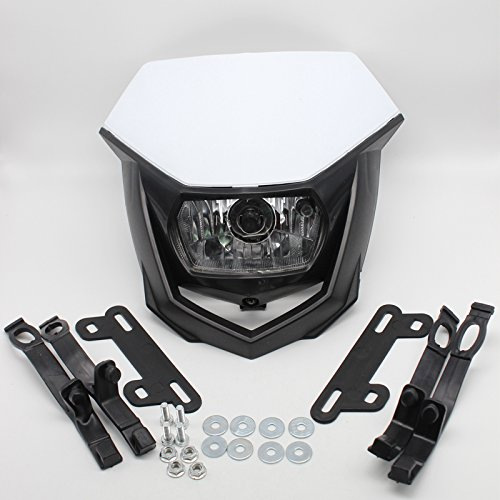 FXCNC Motorcycle Headlight LED 12V 35W H4 Universal Fits All Dual Sport Motorcycles, Dirt Bikes, Street Fiighter, Naked Motorcycles ()