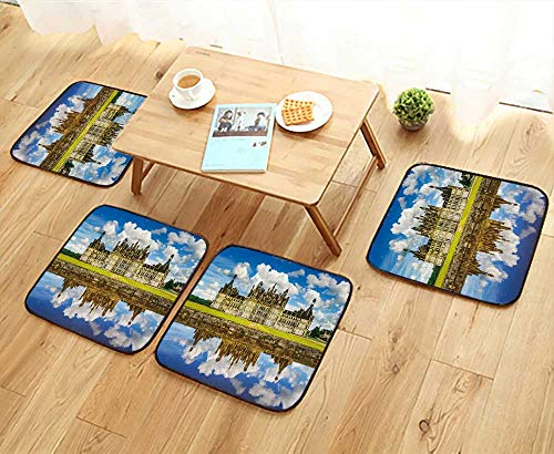 UHOO2018 Chair Cushions Chateau de Chambord, Royal Medieval French Castle and Reflection Non Slip Comfortable W25.5 x L25.5/4PCS Set