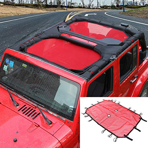 SunShade Top Cover Provides UV Sun Protection for Jeep Wrangler JK JKU 2007-2017 (Red 4 Doors)