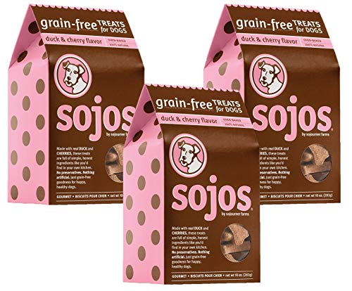 ( Sojos 3 Pack of Duck and Cherry Dog Treats, 10 Ounces each, Made in the USA with Limited Ingredients)