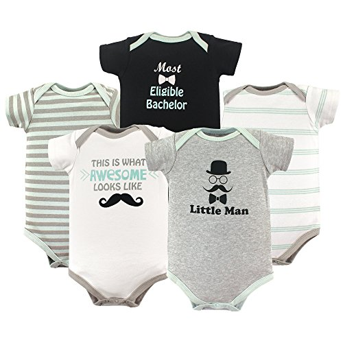 Luvable Friends Baby Infant Basic Bodysuit, 5 Pack, Little Man, 18M(12-18 Months)