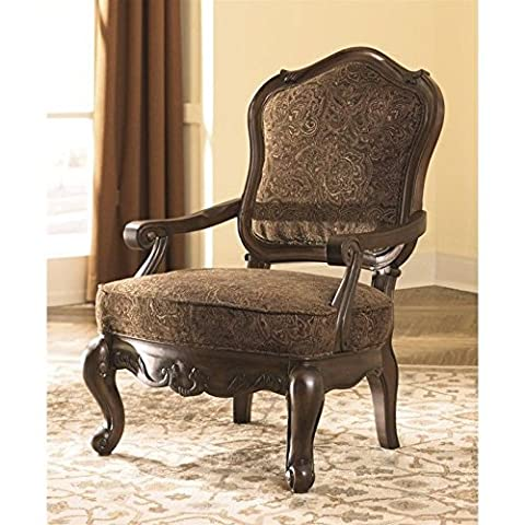 Ashley North Shore 2260360 Showood Accent Chair with Scrolling Arms Solid Hardwood Frame and Fabric Upholstery in - Old Wood Furniture