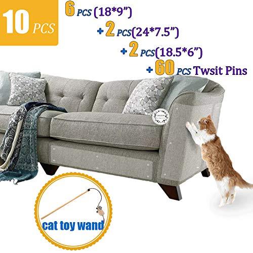 (CAILENI 10 Pack Furniture Scratch Guards, Furniture Protectors from Cats, Cat Scratch Deterrent, Cat Claw Protector, Anti-Scratching Sofa Protector, Couch Protector with 60 Pins, Stop Cat Scratching)