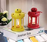 Tied Ribbons Decorative Iron Lantern With Tealight Candle Set Of 2 (Yellow And Red)