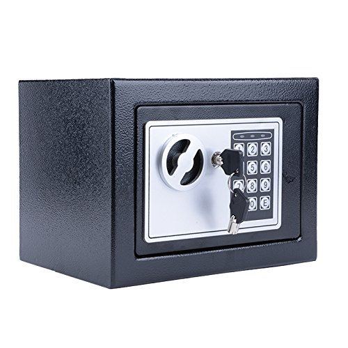 Digital Electronic Safe Security Box Wall for Jewelry Cash Valuable 8.9'' X 6.5'' X 6.5'' (Black) by shaofu