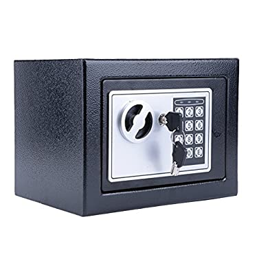 Moroly Digital Electronic Safe Box Small Home Office Security Safe with Digital Lock Wall Cabinet Safe for Jewelry Money Gun Valuables,Solid Steel Free Gift with 4 Batteries (Black)