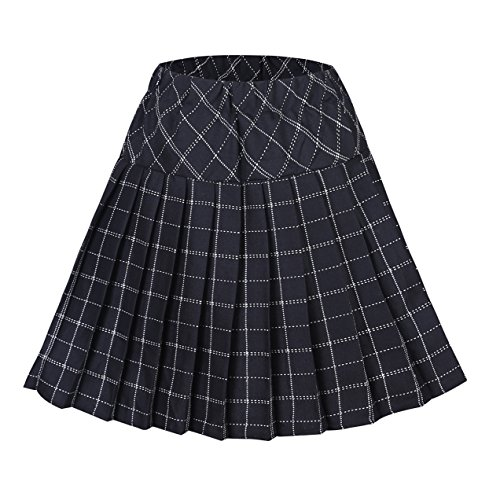 Urban CoCo Women's High Waist Pleated School Tartan Mini Plaid Skirts (2XL, Series 9 Black)