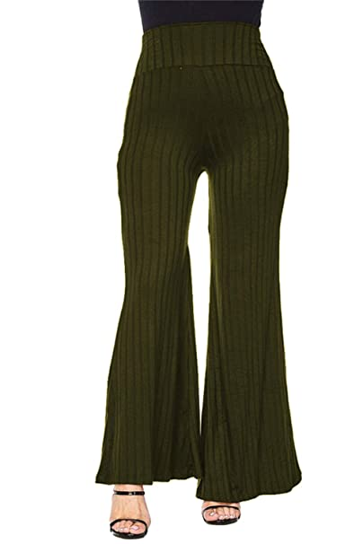 5a8a22ca COCOLEGGINGS Ladys Ribbed Wide Leg Palazzo Trousers Flowy Pants Army Green S
