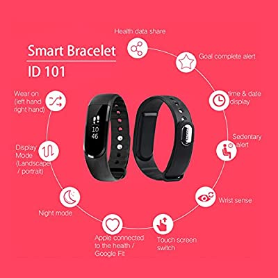 LETSCOM Fitness Tracker Wristbands, Bluetooth 4.0 IP67 Waterproof OLED Touch Screen Smart Band Pedometer with Sleep Monitor, Activity Tracker Watch for iPhone Android Smartphone