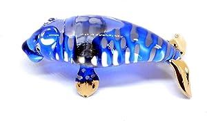 Handmade Mini Blue Glass Manatee Blown Glass Art Sea Animal Figurines Figures for Anniversary Birthday Wedding Gift Ideas Ornament Miniature Cool Stuff Home Room Garden Table Decor Decoration No.1