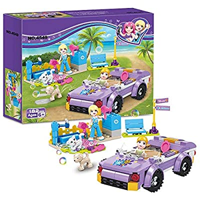 BRICK STORY Girls Building Blocks Toys - Convertible Car Model Pet Bathing Pool Building Kit Role-Playing Gift for Children Aged 6 and up 4549 (182 PCS): Toys & Games