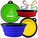 Mr. Peanut's Premium Pop-Up Collapsible Design Travel Bowls * Set of 4 * Portable Feeding & Water Bowl for Dog, Cat & Hikers * Pack in 4 Colors * BPA Free - FDA Approved