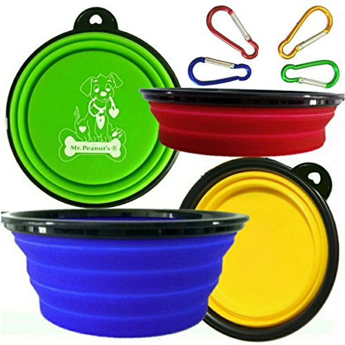 - Mr. Peanut's Collapsible Dog Bowls, Set of 4 Colors, Dishwasher Safe BPA FREE Food Grade Silicone Portable Pet Bowls, Foldable Travel Bowls for Feed & Water on Journeys, Hiking, Kennels & Camping