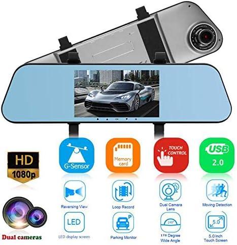 """リアカメラ、5.0"""" フルHD 1080Pカーカメラ、Gセンサーと170°のワイドアングルダッシュボードカメラレコーダーとダッシュライブチャット"""