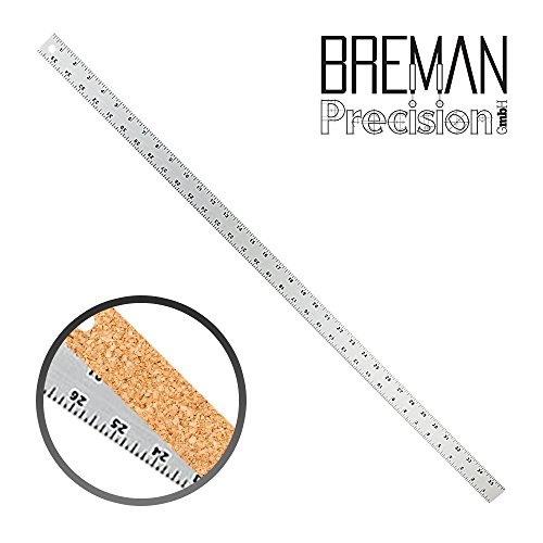Breman Precision Stainless Steel Metal Ruler | Straight Edge Metal Ruler with Inch and Metric Graduations for School Office Engineering Woodworking | Flexible with Non Slip Cork Base, 36-Inch Ruler