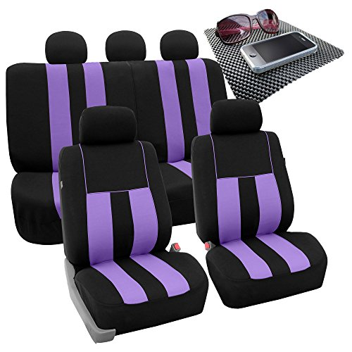 FH GROUP FH-FB036115 Striking Striped Seat Covers, Lavendar / Black with FH GROUP FH1002 Non-slip Dash Grip Black Pad Mat - Fit Most Car, Truck, Suv, or Van