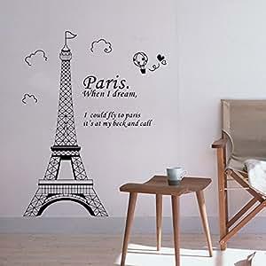 Romantic Paris Eiffel Tower Beautiful View of France DIY Wall Wallpaper Stickers Art Decor Mural Room Decal