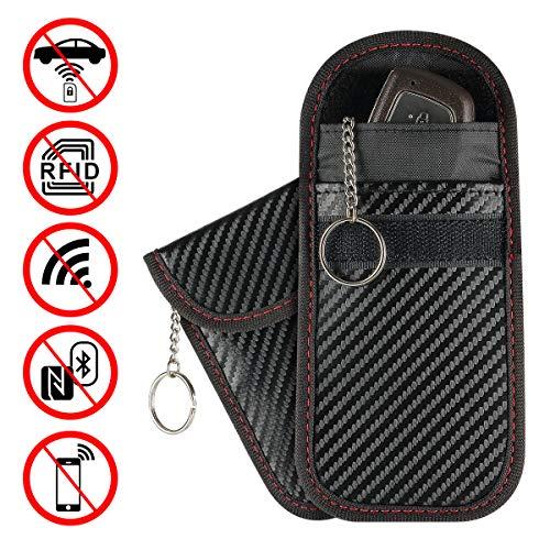 Faraday Bag Key Fob Signal Blocking, Faraday Cage Protector RFID Blocking, Nano Car Key fob Case Pack of 2, Waterproof, Carbon Fiber Texture,by Enjoyee