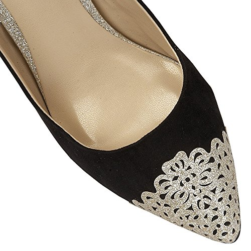 LADIES LOTUS ARLIND BLACK/GOLD GLITZ LOW HEELED SLING BACK SHOES 50796-UK 5 (EU 38)