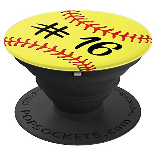 Softball Player #16 Back Jersey No 16 Gadget Sport Gift - PopSockets Grip and Stand for Phones and Tablets
