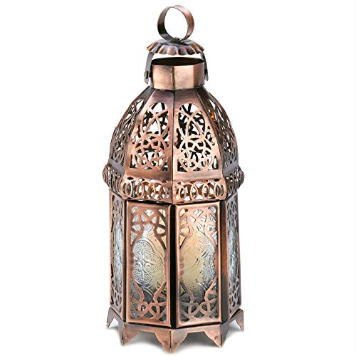 Lantern, Lacy Cutout Copper-Tone Moroccan Candle Lamp Home Decor New
