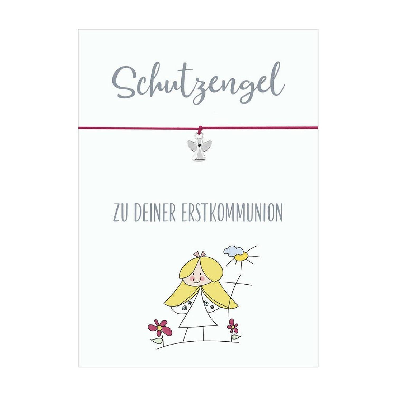 Ángel de primera comunión pulsera con colgante ángel bañado en plata, banda elástica de textil en diferentes colores y hecho a tarjeta