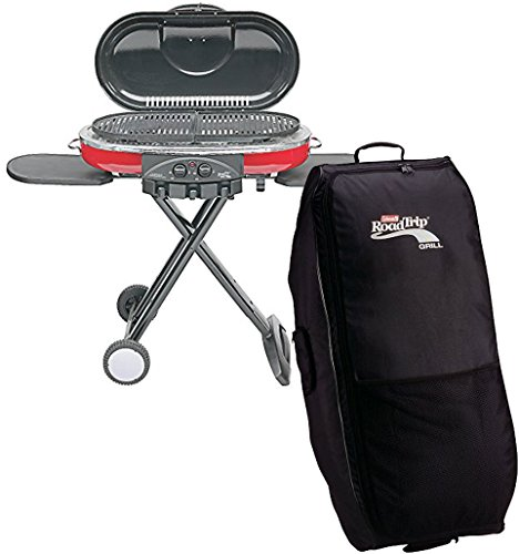 Bundle Includes Coleman 9949-750 Road Trip Grill LXE and Coleman RoadTrip Wheeled Carry Case - Coleman Travel Bbq