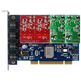 Quad Span FXO FXS Card with 2 FXO +2 FXS modules,Supports Issabel FreePBX Asterisknow Asterisk Card PCI,For VoIP Telephone System SIP Phone Appliance