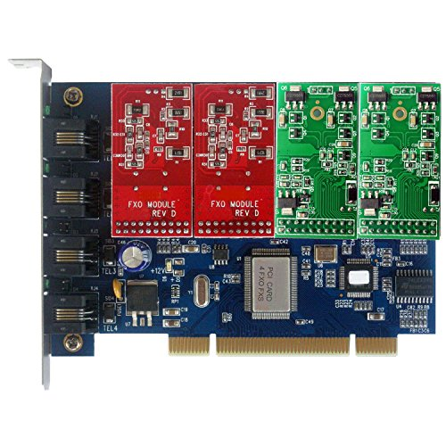 Pbx Asterisk Appliance (Quad Span FXO FXS Card with 2 FXO +2 FXS modules,Supports Issabel FreePBX Asterisknow Asterisk Card PCI,For VoIP Telephone System SIP Phone Appliance)