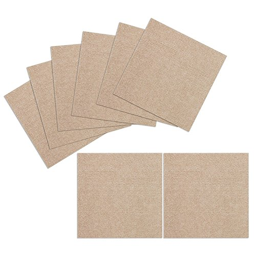 TRILUC, 12 x 12 Place and Stick Carpet Tile Squares. Non Slip Backing & Washable Floor Tile - 8 Pc Set - Beige (Set Tiles Carpet)