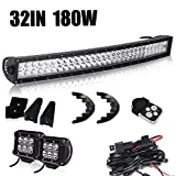toyota 1000 - T-Former 32 Inch Led Light Bar 180W Combo Beam + Remote Switch Wiring Harness Kit 2pcs LED Pods For Offroad Ford F250 F150 Polaris RZR Toyota Tacoma Chevy Silverado Jeep Grand Cherokee Nissan Truck