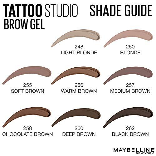 Maybelline TattooStudio Waterproof Eyebrow Gel Makeup, Medium Brown, 0.23 fl. oz.