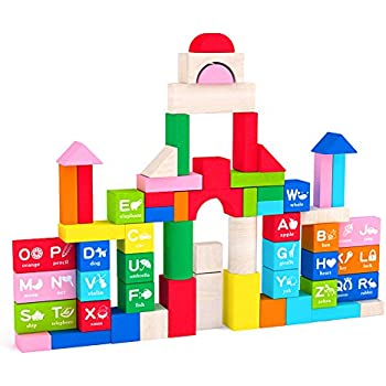 Ordinaire May U0026 Z Wooden Building Blocks Set   Colored Wood Block Set With Alphabet  With Storage