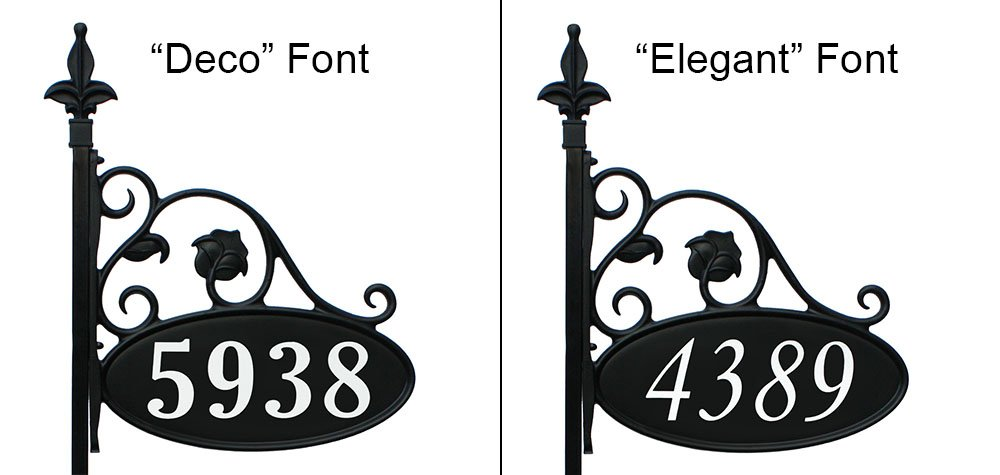 """Yard Sign Address Plaque with Highway-Grade Reflective Vinyl House Numbers Wrought Iron Look, Oval, Black, Double Sided House Plate, 911 Visibility Signage, Elegantly Handcrafted in USA, 30"""" Pole"""