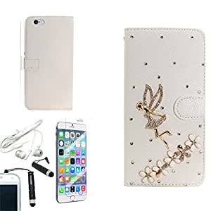 [ARENA] 3D WHITE FLOWER FAIRY BLING GEM FLIP COVER WALLET STAND CASE for APPLE IPHONE 6 PLUS + FREE ARENA ACCESSORIES