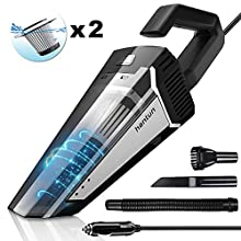 Hantun Car Vacuum, Portable Handheld Car Vacuum, 5000pa Powerful Suction Lightweight Auto Vacuum Cleaner for Wet and Dry Cleaning, Only for Car Use, Black