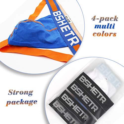 BSHETR Men's Underwear Jockstrap Athletic Supporters, 4-Pack Cotton Low Rise Stretch Multipack Performance Jock Strap (Medium 28-30,71cm-76cm)