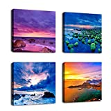 """Ocean Coast Canvas Wall Art Beach Sunset Picture Prints Nature Pictures Modern Blue Wall Decor Canvas Artwork 12"""" by 12"""" 4 Pieces for Home Decoration"""