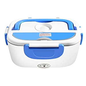Electric Heating Lunch Box, 1.5L Stainless Steel Portable Food Heater, Lunch Containers with Car Charging Cable,12V and 220V Dual Use Warm Lunch Box (Blue)