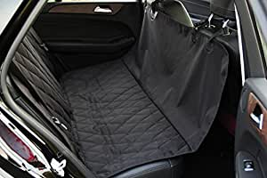 """INNX Pets Car Seat Cover, Quilted and Hammock Convertible Dog Seat Protector, Dog Cargo Liner for Sedan Cars, Trucks, SUVs or Minivans (Black, 58""""L x 54""""W)"""
