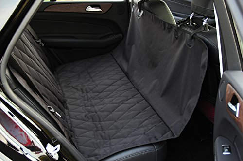 "INNX Dog Seat Cover, Quilted Hammock Bench Pet Seat Cover for Sedan Cars, Trucks, SUVs or Minivans, Waterproof (Quilted Ballistic Hammock, Black, 58""Lx54""W)"